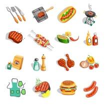 Barbecue Food Accessories Flat Icons Set (© macrovector / Fotolia.com)