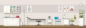 Illustration of a doctor office, panorama (© GabiWolf / Fotolia.com)