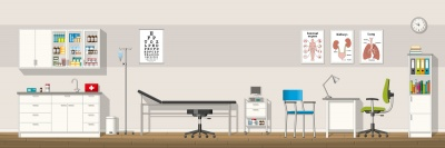Illustration of a doctor office, panorama (© GabiWolf / Fotolia.com)