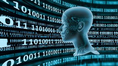 Head with Digital Zeros and Ones - blue (© Weissblick / Fotolia.com)