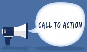 CALL TO ACTION writing in speech bubble with megaphone (© ionut / Fotolia.com)